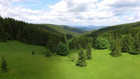 Aerial view of the summer time in mountains near Czarna Gora mountain in Poland. Pine tree forest and clouds over blue sky. View f stock video footage