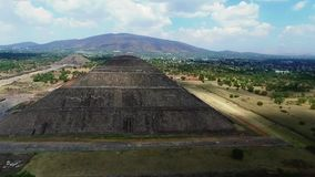 Aerial view of the Sun and Moon pyramids. In the ceremonial complex of Teotihuacan in Estado de Mexico, Mexico stock video footage