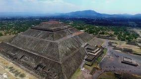 Aerial view of the Sun pyramid. In the ceremonial complex of Teotihuacan in Estado de Mexico, Mexico stock video