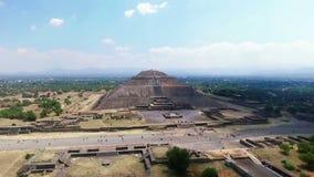 Aerial view of the Sun pyramid (TAKE 1). Aerial view of the Sun pyramid in the ceremonial complex of Teotihuacan in Estado de Mexico, Mexico. (TAKE 1 stock video footage