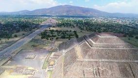 Aerial view of the Sun and Moon pyramids(TAKE 1). Aerial view of the Sun pyramid in the ceremonial complex of Teotihuacan in Estado de Mexico, Mexico. (TAKE 3 stock video