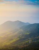 Aerial view of sun set moutain  in northen thailand Stock Photos