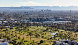 Sunset on Phoenix, Arizona from above Golf Course Stock Photos