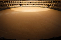 Aerial view of sunny side of bull fighting ring Stock Image