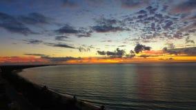 Aerial view of a sunrise on the beach. Great beach scene. Fantastic landscape. Great colors and contrast. Porto Seguro, Bahia, Brazil stock photo