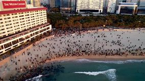 Aerial View of Sunrise in Haeundae Beach at New Year, Busan, South Korea, Asia stock footage