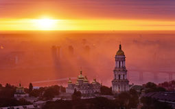 Aerial view at sunrise of the Kiev-Pechersk Lavra - one of the main symbol of Kiev Stock Photo