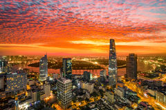 Aerial view sunrise moment of building centre Ho Chi Minh city - The biggest city in Vietnam. Beautiful cityscape photo of Ho Chi Minh City Royalty Free Stock Photography