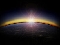 Aerial view of sunrise over a city royalty free stock photography