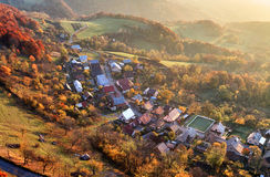Aerial view of sunrise over rural village, Slovakia Royalty Free Stock Photos