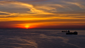 Aerial view of sunrise at Palermo harbor, Sicily Royalty Free Stock Photo