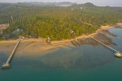 Aerial view sunrise at pier of Phayam temple one landmark of Phayam island.