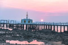 Aerial view sunrise at pier of Phayam temple one landmark of Phayam island. Phayam temple is on Hin Kao gulf. .The temple is close to the shipping port. in the stock photography