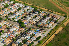 Aerial view at sunrise of suburban housing in neighborhood on Long Island Royalty Free Stock Image