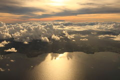 Aerial view sunset Royalty Free Stock Photography