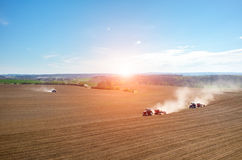 Aerial view of the sunset above the field Royalty Free Stock Image