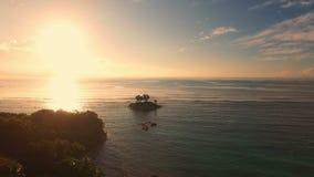 Aerial view of sunrise on Anse Royale beach in Mahe Island, Seychellesnd, Seychelles. stock footage