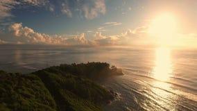 Aerial view of sunrise on Anse Royale beach on Mahe Island, Seychelles. stock video