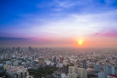 Aerial view of sunset in Bangkok Stock Photo