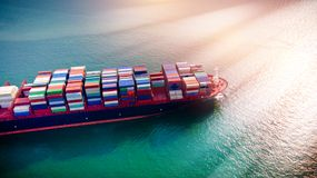 Aerial view at sunset. The cargo will be shipped from Thailand t. O Singapore, Hong Kong and Malaysia. It is an important international trade. Water royalty free stock image