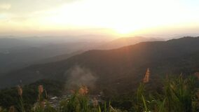 Aerial view Sunset at Doi Suthep viewpoint in Chiangmai, Thailand.