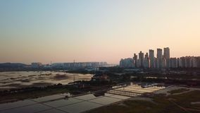 Aerial view Sunset of the industrial park. incheon Seoul,Korea.  stock footage