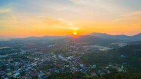 Aerial view during sunset at Khao Rang viewpoint. Aerial view during sunset at Khao Rang the landmark viewpoint of Phuket place in the central of Phuket town. on Stock Photo