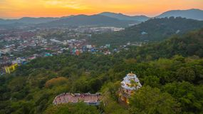 Aerial view at Khao Rang viewpoint tower. Aerial view during sunset at Khao Rang the landmark viewpoint of Phuket place in the central of Phuket town. on Khao Stock Photos