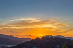 Aerial view during sunset at Khao Rang viewpoint. Aerial view during sunset at Khao Rang the landmark viewpoint of Phuket place in the central of Phuket town. on Royalty Free Stock Photo