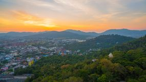 Aerial view during sunset at Khao Rang viewpoint. Aerial view during sunset at Khao Rang the landmark viewpoint of Phuket place in the central of Phuket town. on Stock Photography