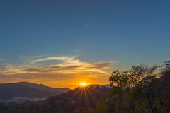 Aerial view during sunset at Khao Rang viewpoint. Aerial view during sunset at Khao Rang the landmark viewpoint of Phuket place in the central of Phuket town. on Royalty Free Stock Photography