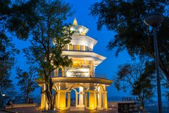 Aerial view during sunset at Khao Rang viewpoint. Aerial view during sunset at Khao Rang the landmark viewpoint of Phuket place in the central of Phuket town. on Royalty Free Stock Images