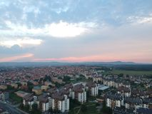Aerial view of sunset in Kragujevac - Serbia. Town in central Serbia stock images