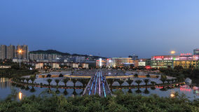 Aerial view at sunset of the Nie Er Music Square Park, one of the biggest in Yuxi. Royalty Free Stock Photos