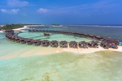 Aerial view on sunset at Olhuveli island, Maldives royalty free stock photos