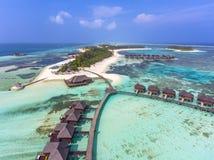 Aerial view on sunset at Olhuveli island, Maldives stock image