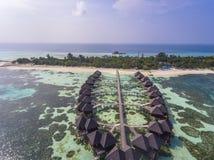 Aerial view on sunset at Olhuveli island, Maldives stock photo