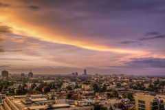 Aerial View. Sunset over Bucharest stock photography