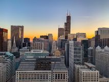 Aerial view of sunset over Chicago cityscape royalty free stock photo