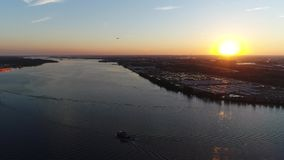 Aerial View of Sunset over Delaware River Philadelphia PA stock video