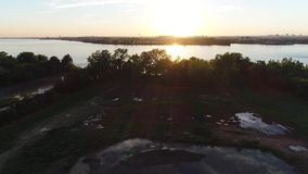Aerial View of Sunset over Delaware River Philadelphia PA stock video footage