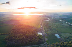 Aerial view on a sunset Royalty Free Stock Image