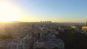 Aerial view of sunset over paris stock video footage
