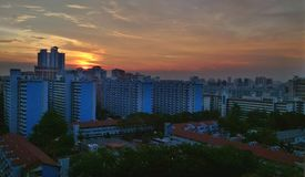 HDB apartment blocks. Aerial view of sunset over Toa Payoh, a mature public housing estate in Singapore Royalty Free Stock Images