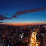 Aerial view of sunset on the São Paulo city, Brazil stock photos