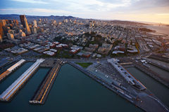 Aerial view sunset san francisco Royalty Free Stock Image