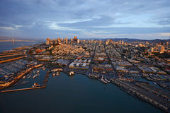 Aerial view sunset san francisco Stock Photo