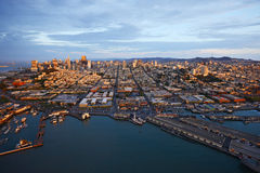 Aerial view sunset san francisco Royalty Free Stock Images