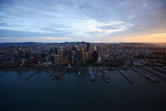 Aerial view sunset san francisco Royalty Free Stock Photo