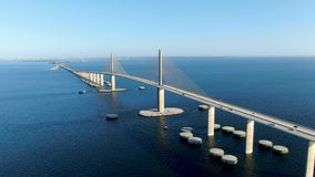 Aerial view of Sunshine Skyway Bridge, Tampa Bay
